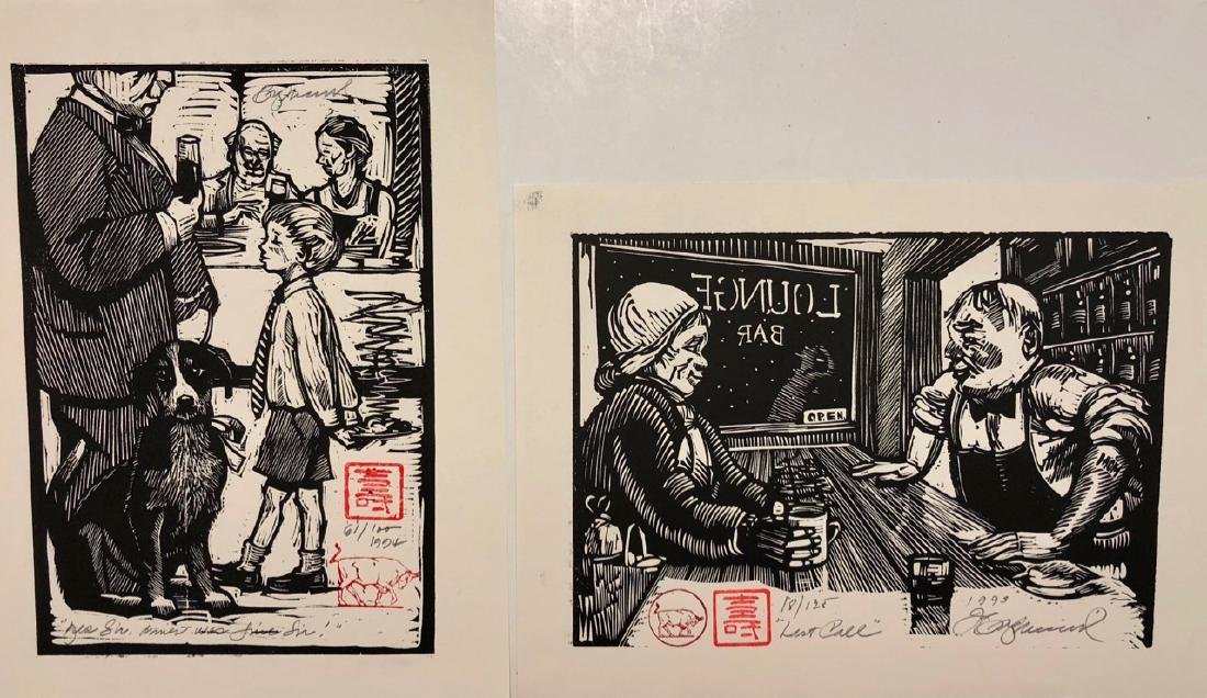 "Tim Engelland Woodcuts ""Last Call"" & ""Bar Dog"""