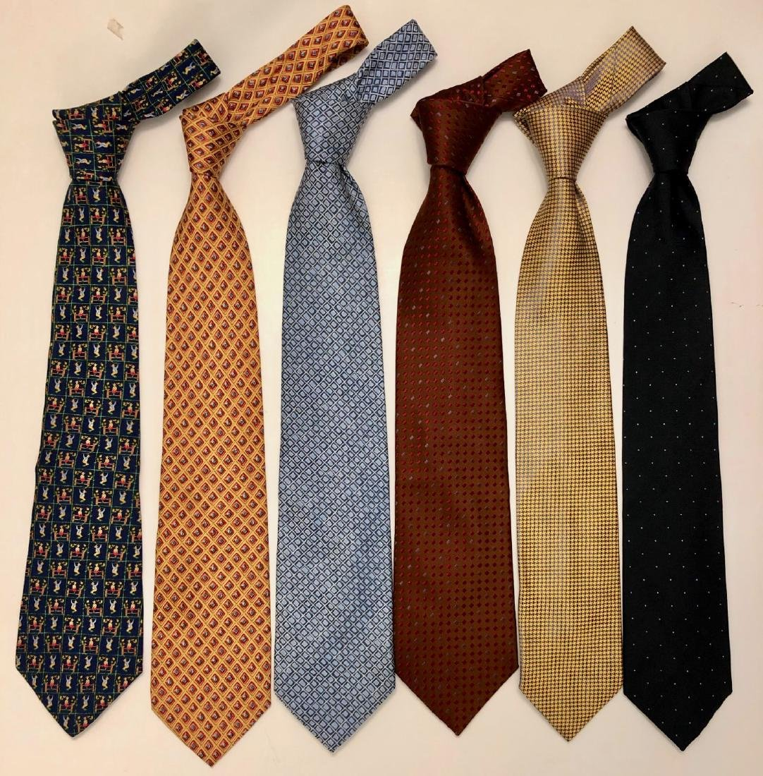 Six Men's Designer Silk Ties, Ferragamo & Charvet