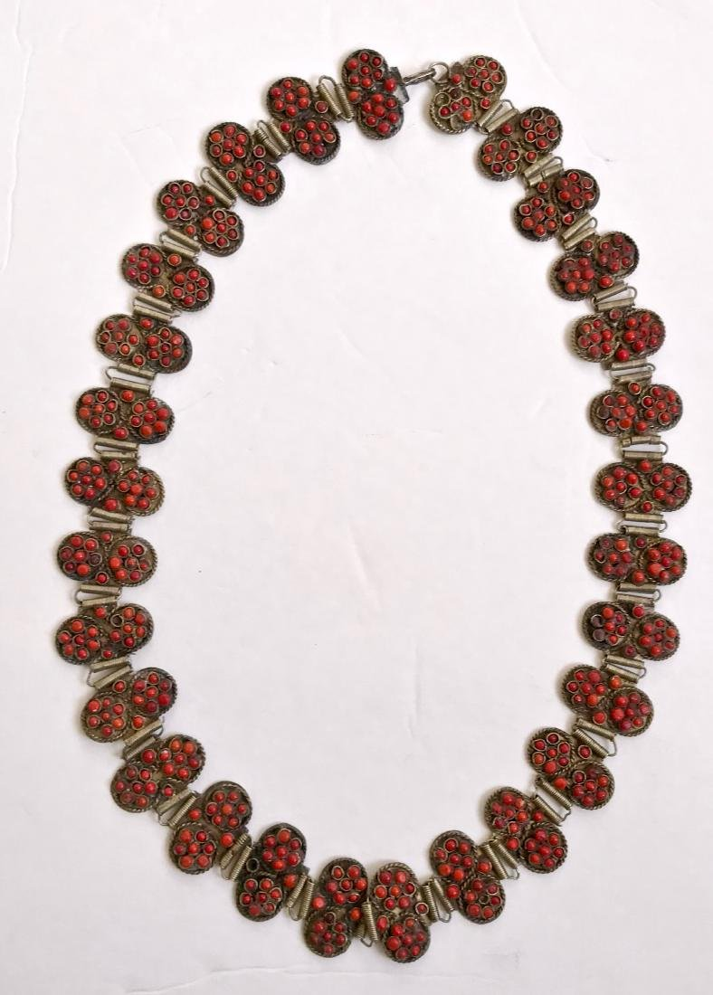 Antique Coral & Silver Belt / Necklace
