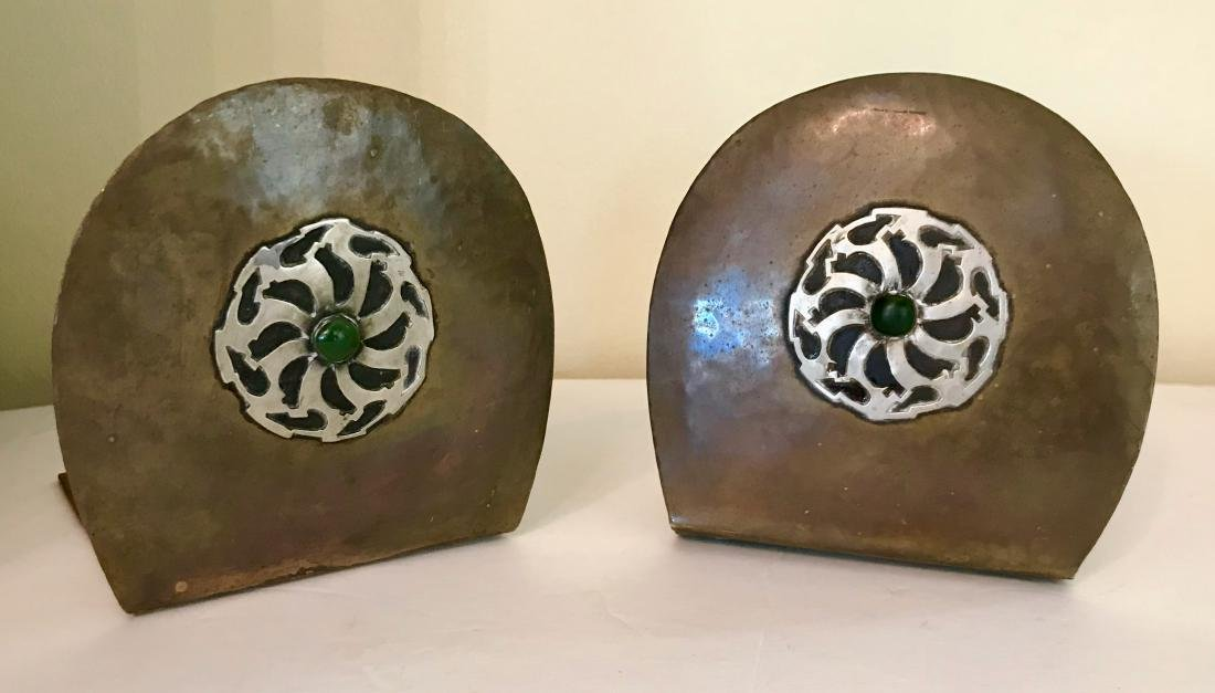 Pair Of Arts & Craft Art Bookends, Signed A. L.