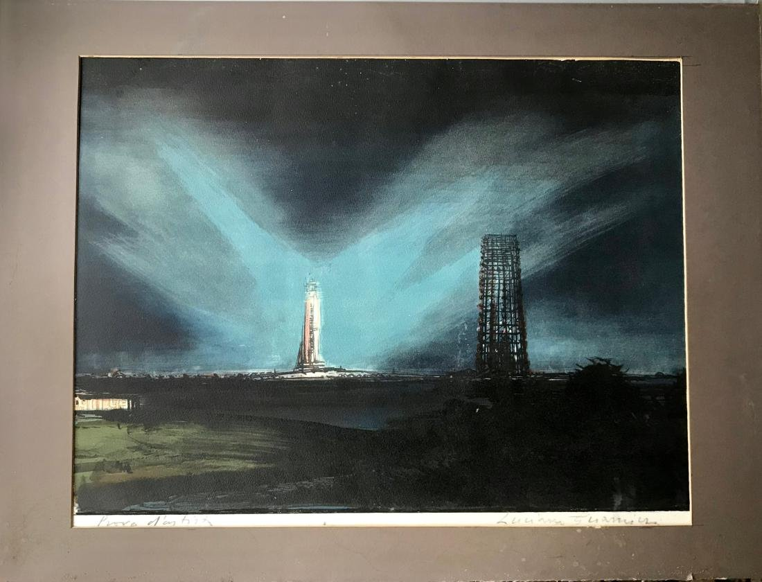 Space Shuttle Launch Painting Cape Canaveral, Signed