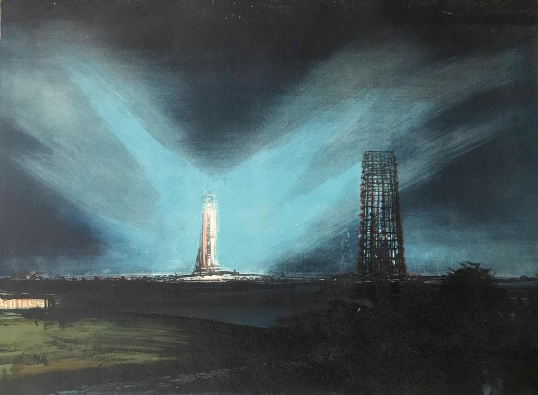Space Shuttle Launch Painting Cape Canaveral, Signed - 2