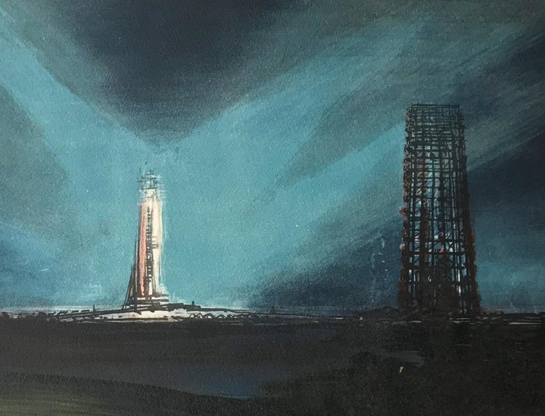 Space Shuttle Launch Painting Cape Canaveral, Signed - 4