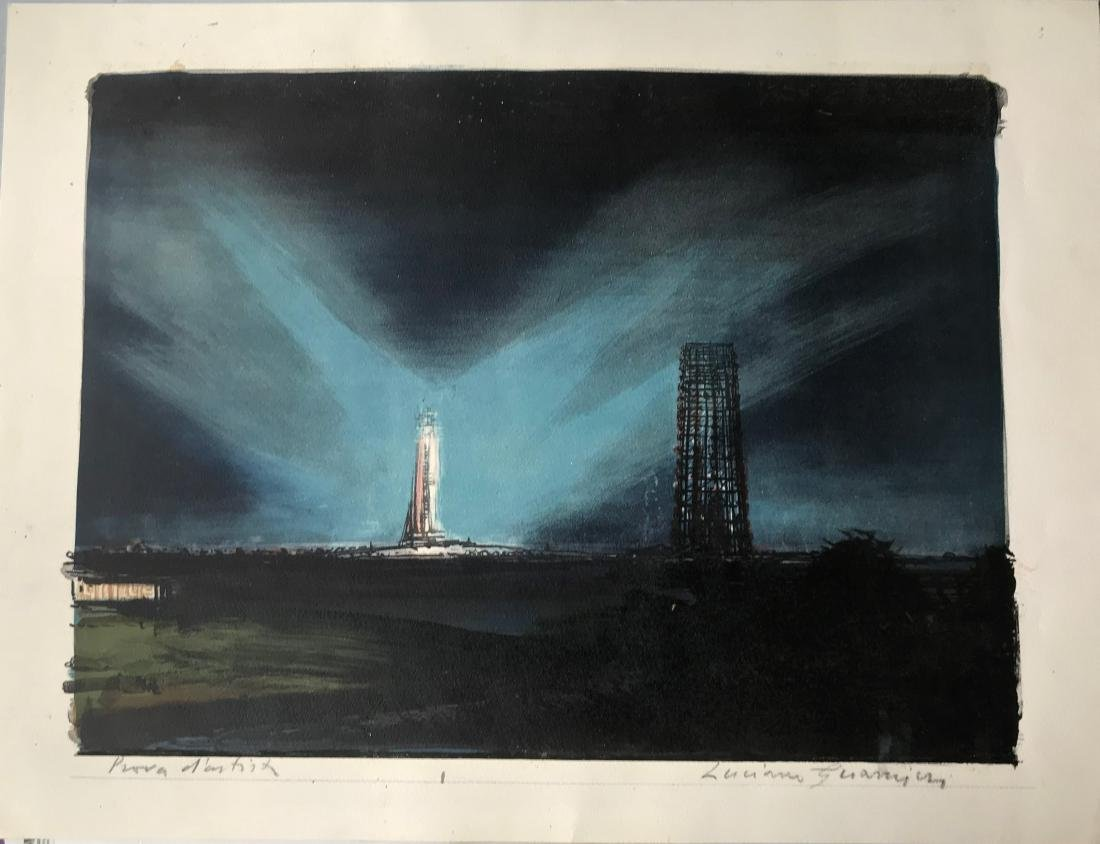 Space Shuttle Launch Painting Cape Canaveral, Signed - 5