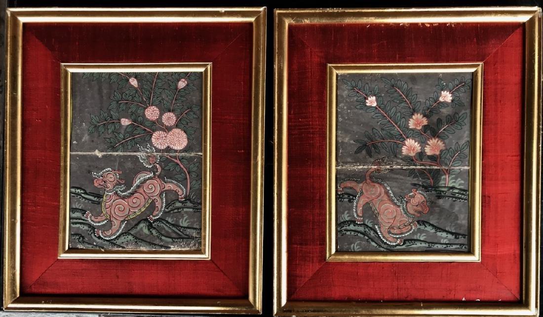 Tibetan Manuscript Pages W/ Snow Lions & Text, 19th C.