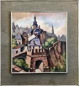 Continental School Village Landscape Painting Signed