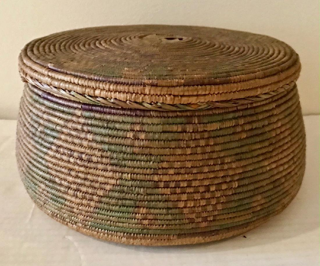 Hand-Woven Native Basket With Lid
