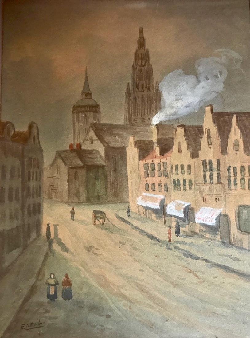 Edward Nevil (19th C.) Antwerp, Belgium Watercolor