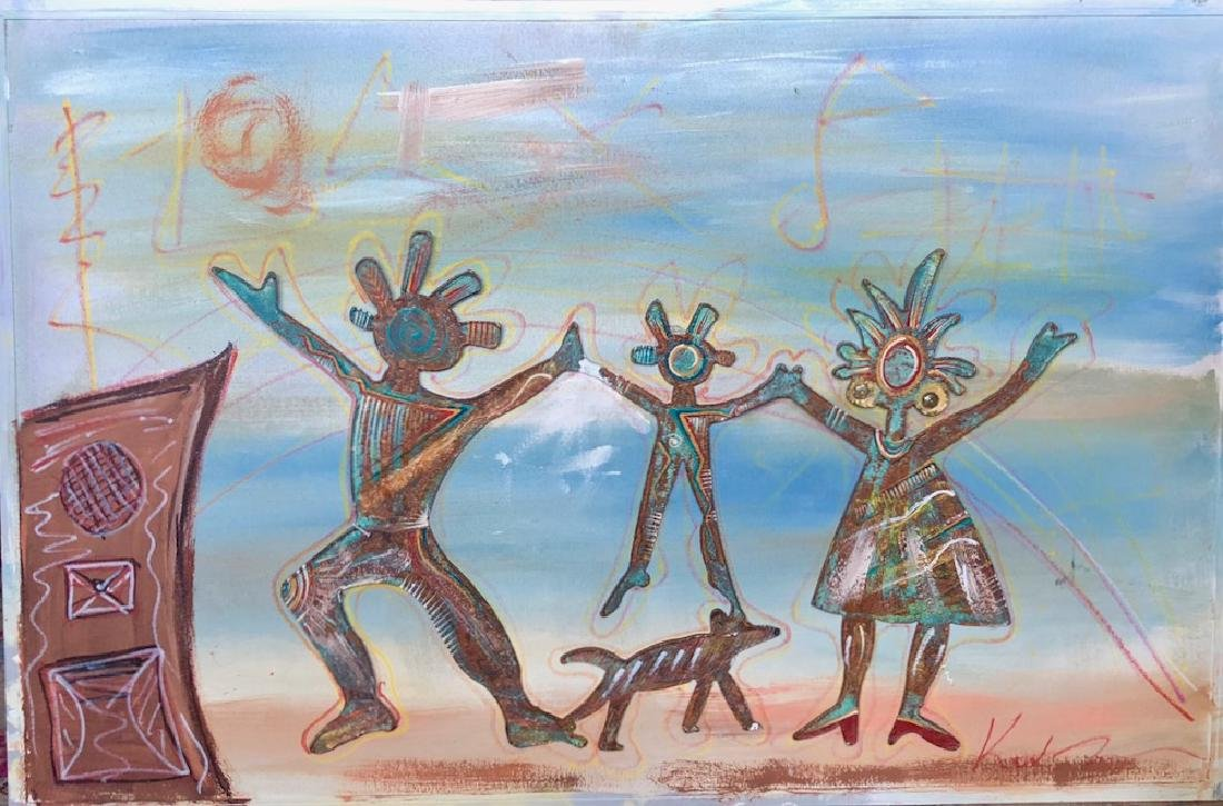 Outsider Painting Celebration of Kachinas, Keith Morris