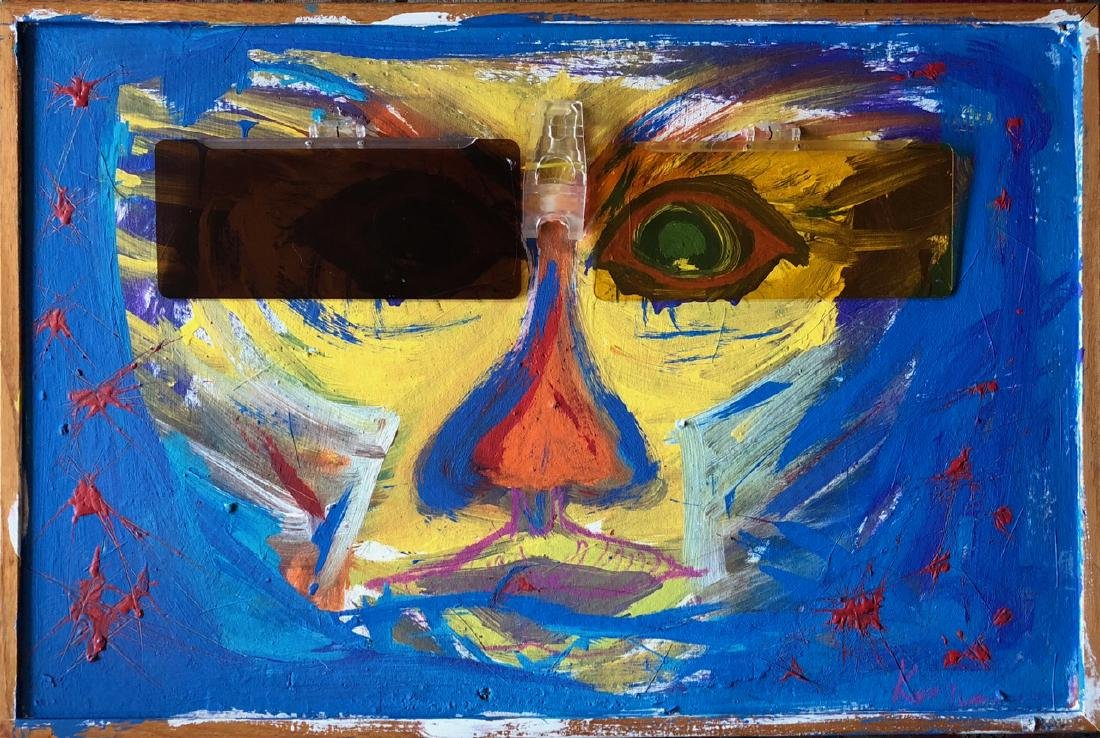 """Outsider Collage Painting """"Visers"""", Keith Morris"""
