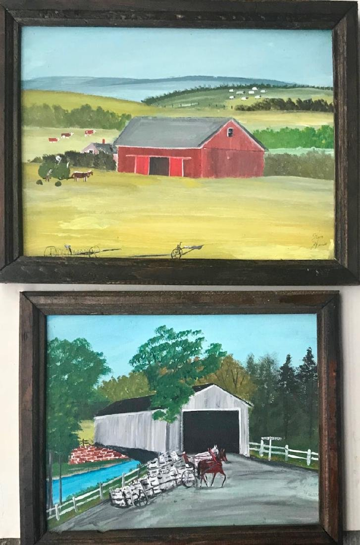 Maine Folk Art Landscape Farm Paintings, Ken Harris (2)