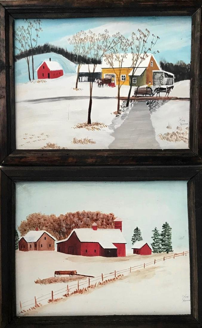 New England Folk Art Snowscape Paintings, Ken Harris
