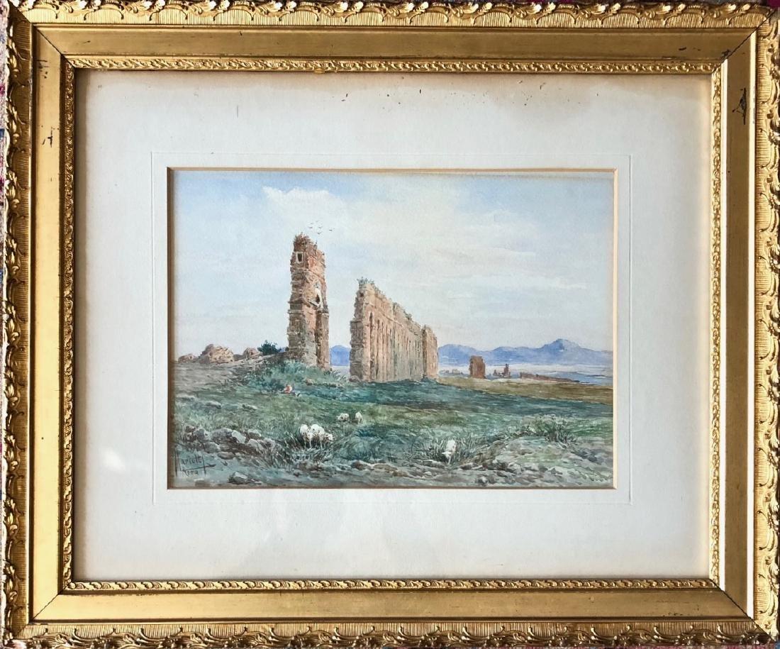19th C. Italian Landscape Watercolor Leopoldo Mariotti