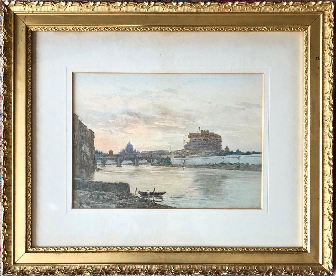 Italian Watercolor Leopoldo Mariotti, 19th Century