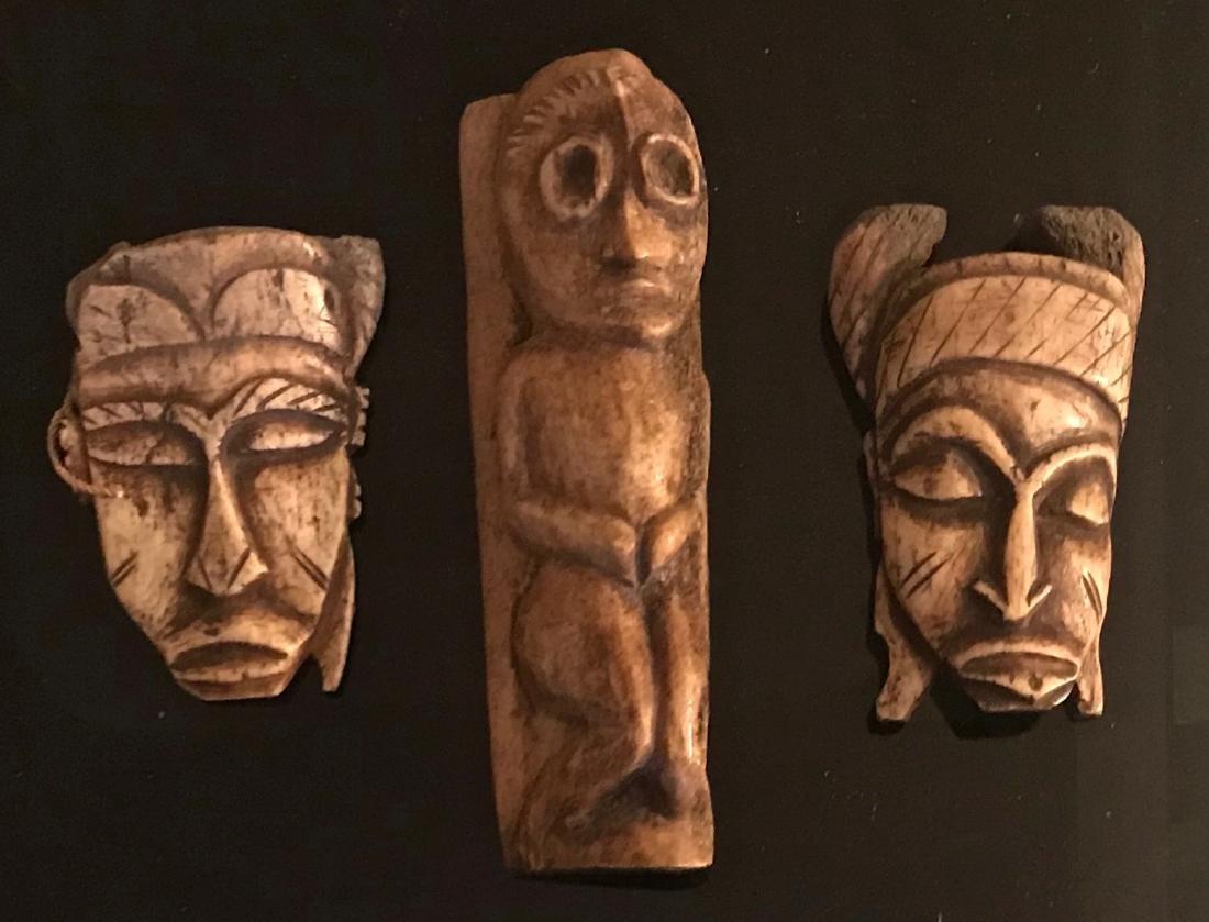 Lega Tribe Bone Passport Masks & Fertility Figure,Congo