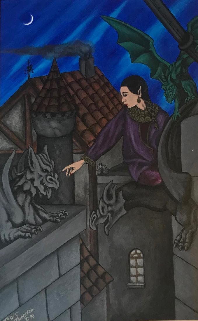 Sci-fi Pulp Painting, Gargoyles With Mistress, Signed