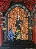 Sci-fi Pulp Art Painting, Entrance To The Castle