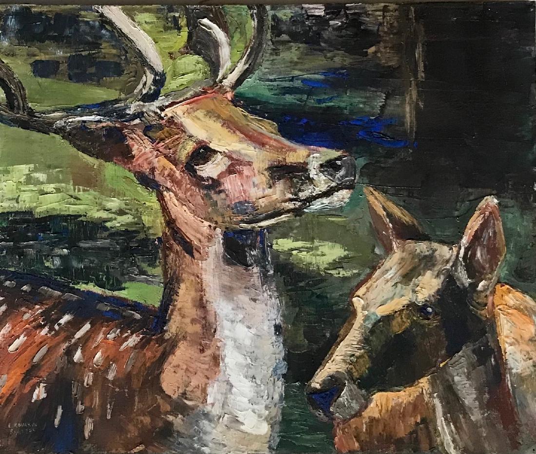 Mid-Century Wildlife Painting, E. Kovarik Sanders