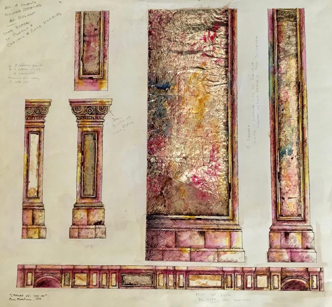 """Beni Montresor N.Y.C. Opera Set Painting """"Lucia"""" 1980"""