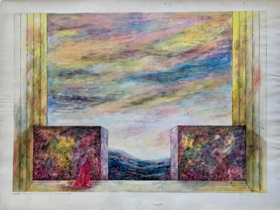 """Beni Montresor Opera Set Painting """"Norma"""" 1979"""