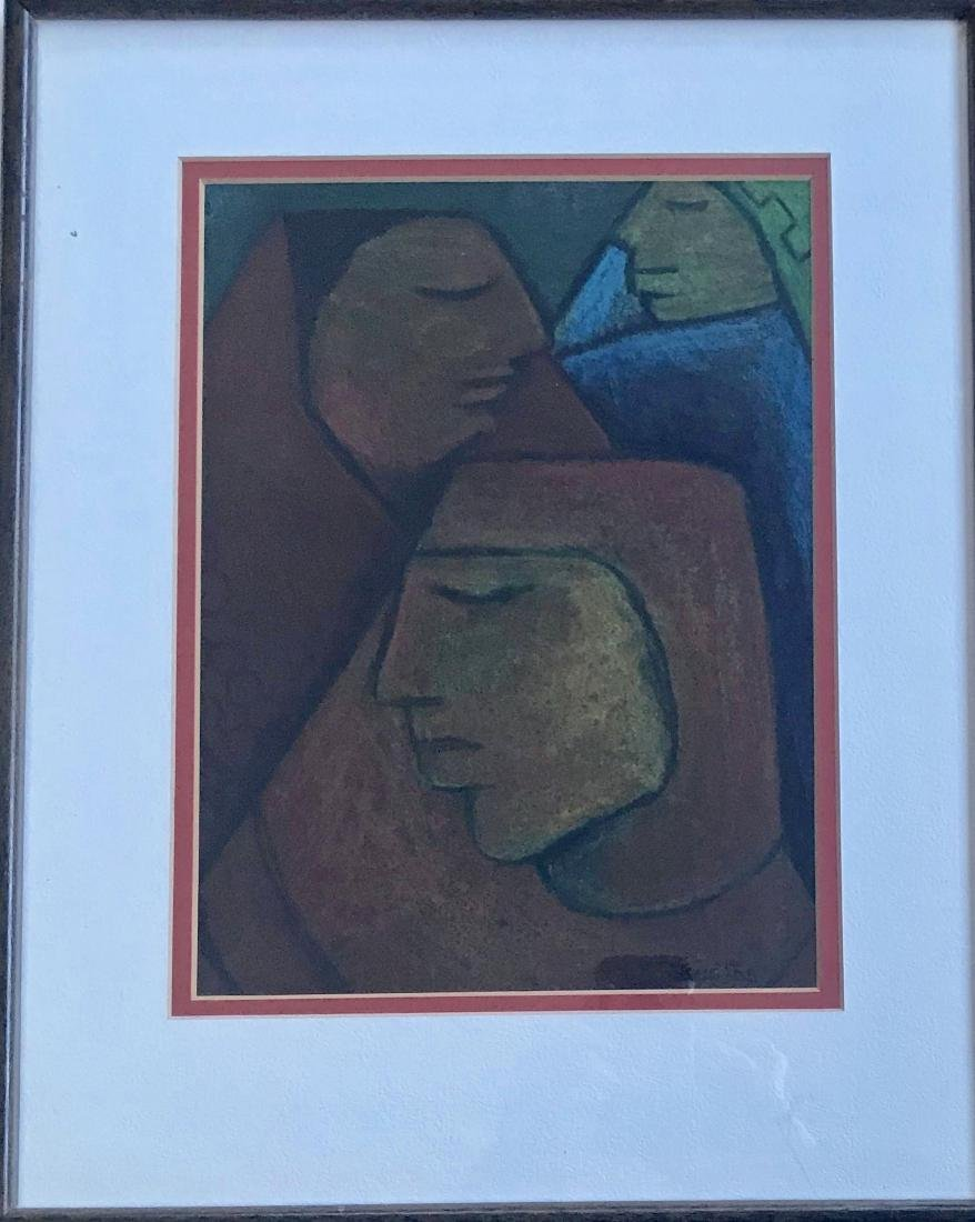 Mexican Cubist Charcoal Drawing Signed Bustos