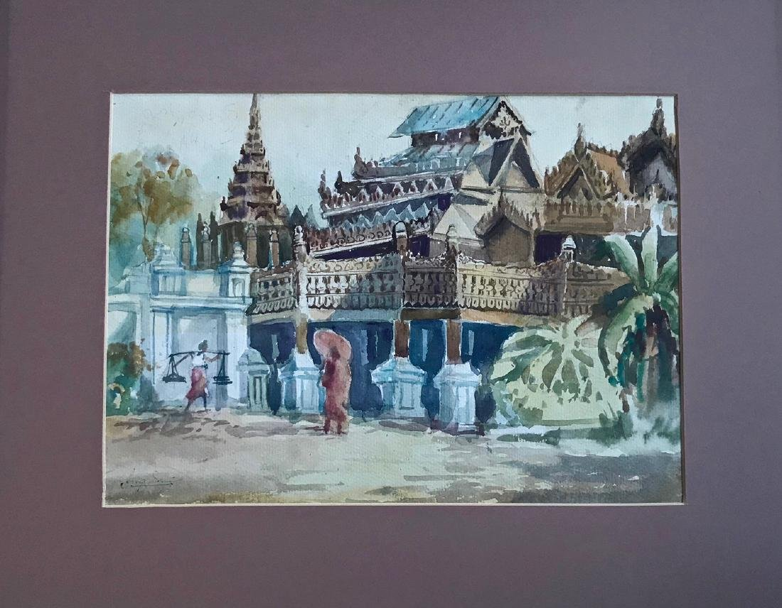 Burmese Temple Compound Painting, Aug Sue
