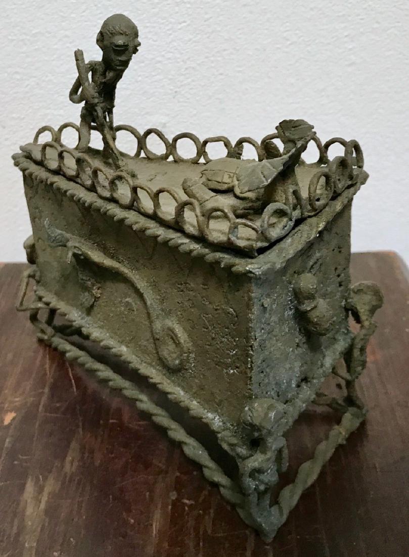 Bronze Ceremonial Vessel With Figures & Reptiles