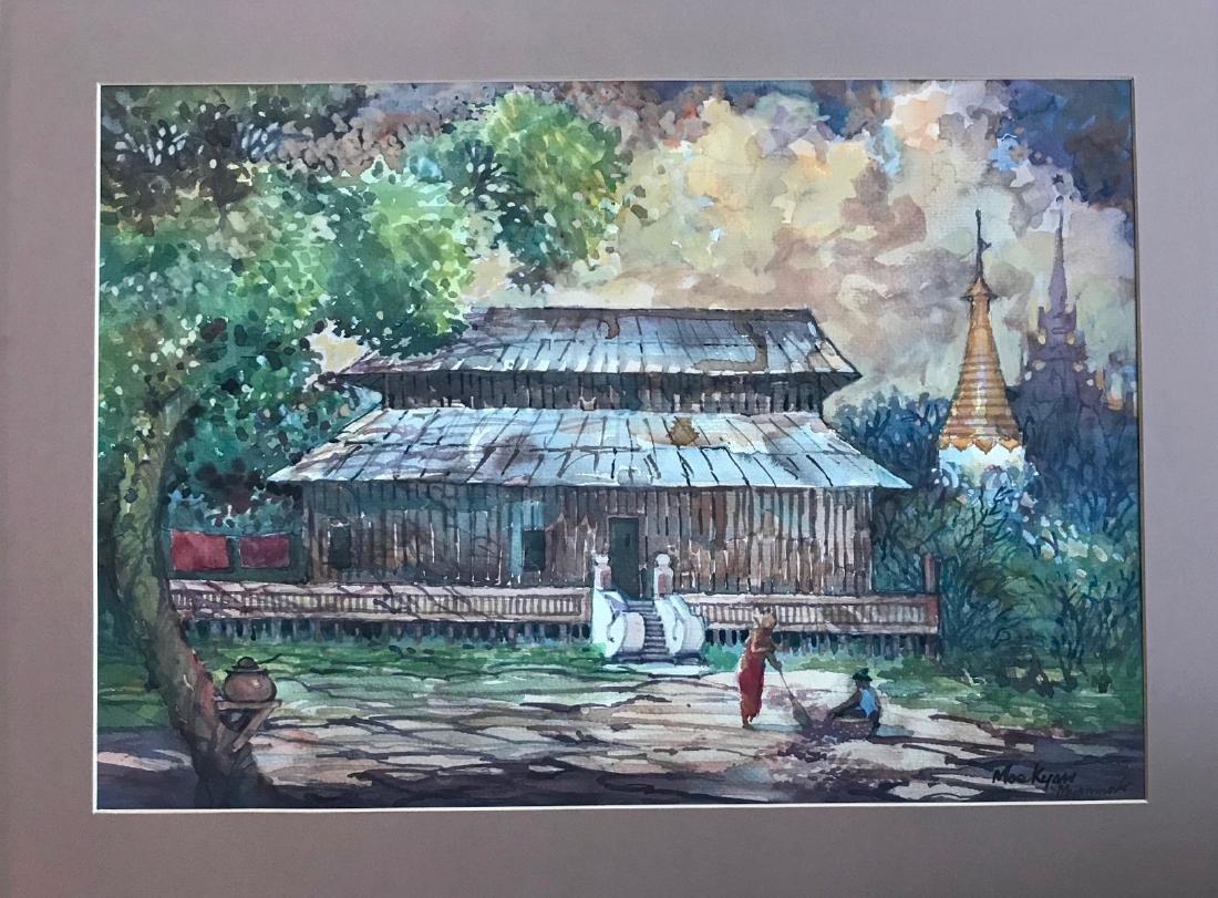 Burmese Myanmar Painting W/ Distant Temples, Mee Kyaw