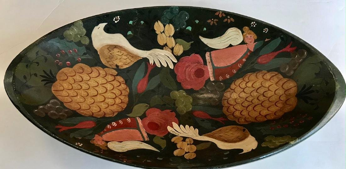 American Folk Art Painted Carved Bowl, Signed