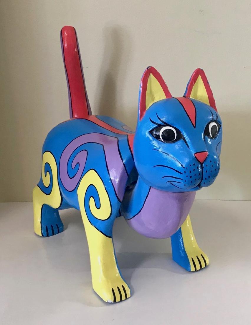 "Pop Folk Art Cat With Moving Tail & Head, 20"" x 16.75"