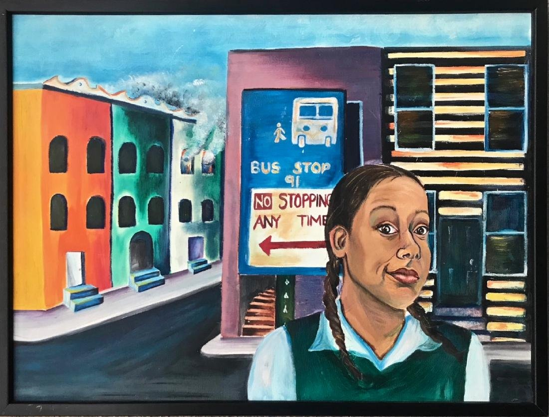"Urban N.Y. Harlem Oil Painting ""BUS STOP"""