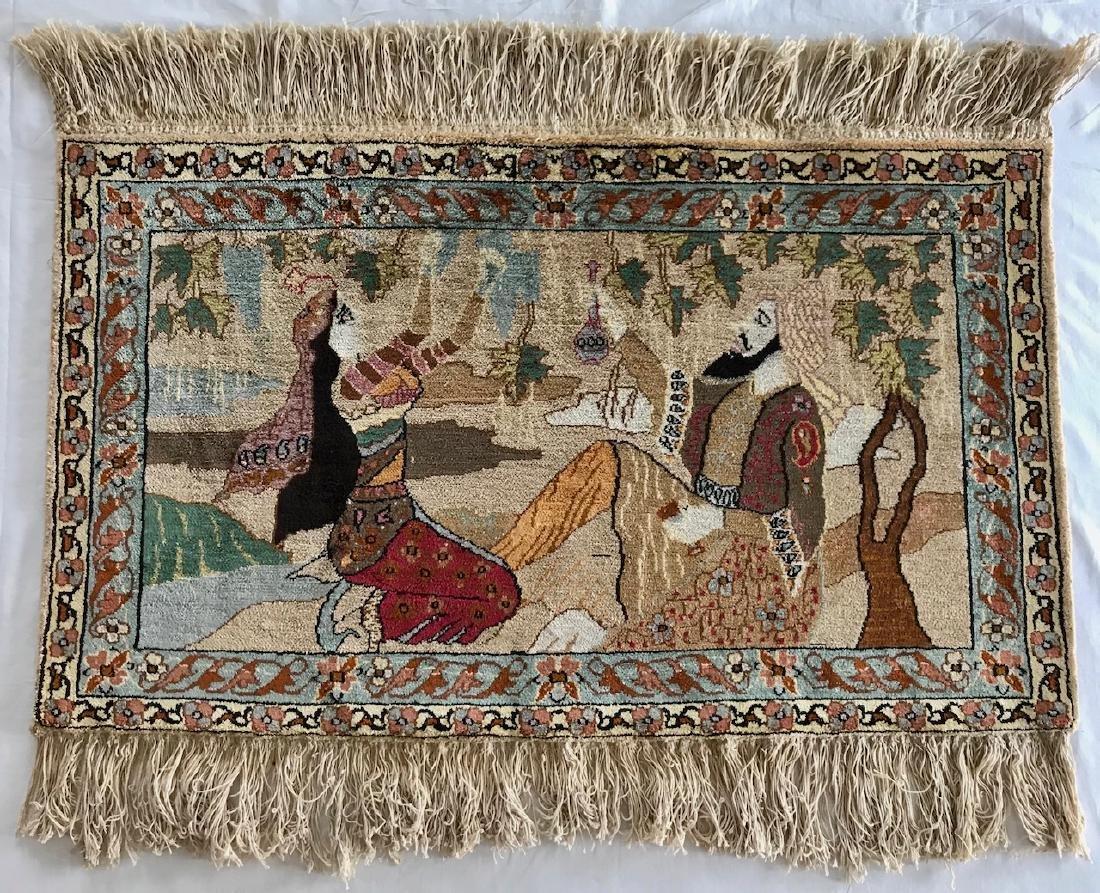 Semi-Antique Persian Pictorial Silk Rug
