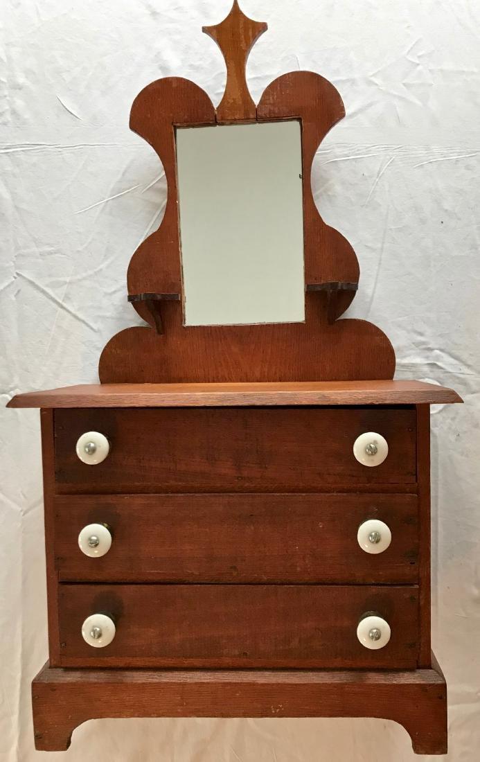 Miniature Oak Three Drawer Dresser With Mirror