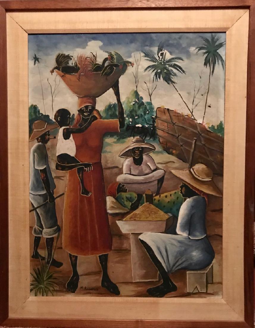 Haitian Folk Art Oil Painting, Arnoix