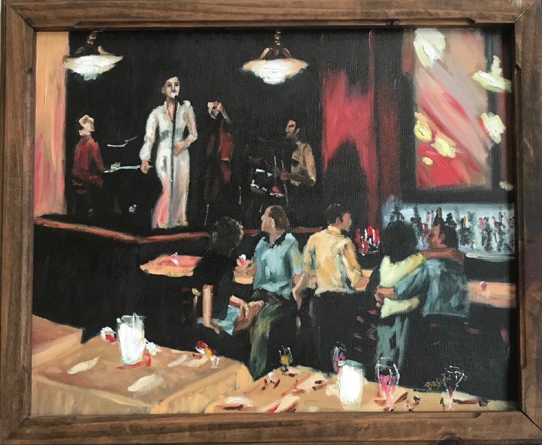 Urban Bar Scene Oil Painting Jazz Singer, Signed 1960's