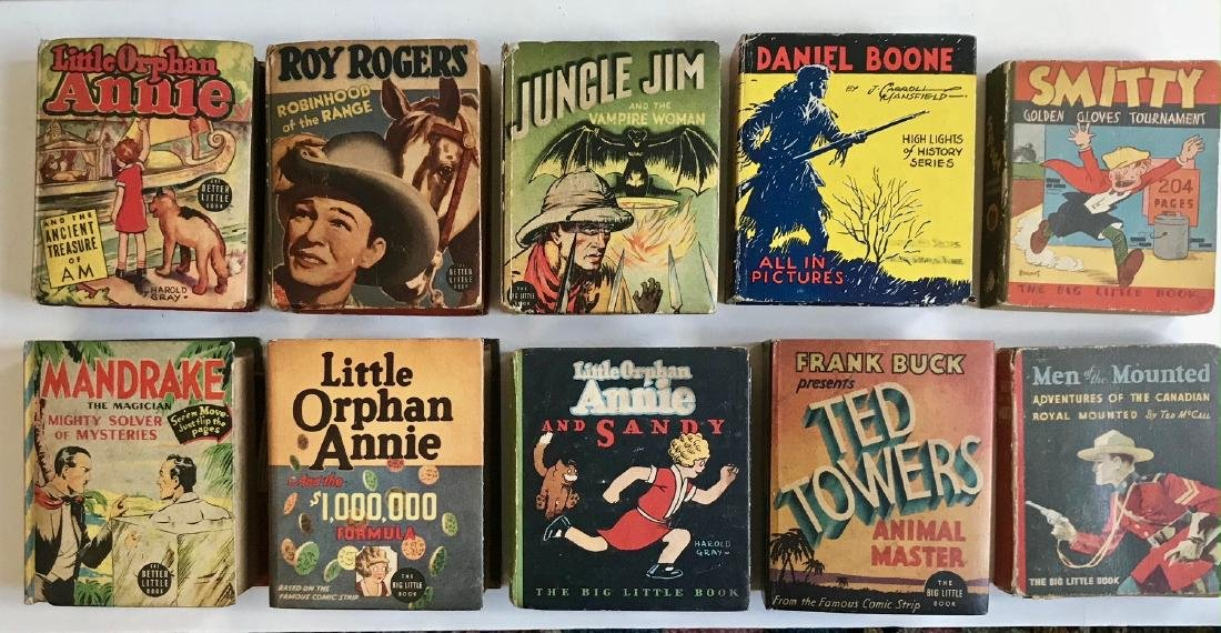 Big Little books Jungle Jim, Boone, Roy Rogers & More