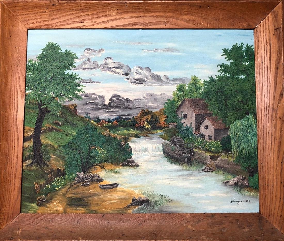 American Landscape Painting With Watermill, G. Eroyan