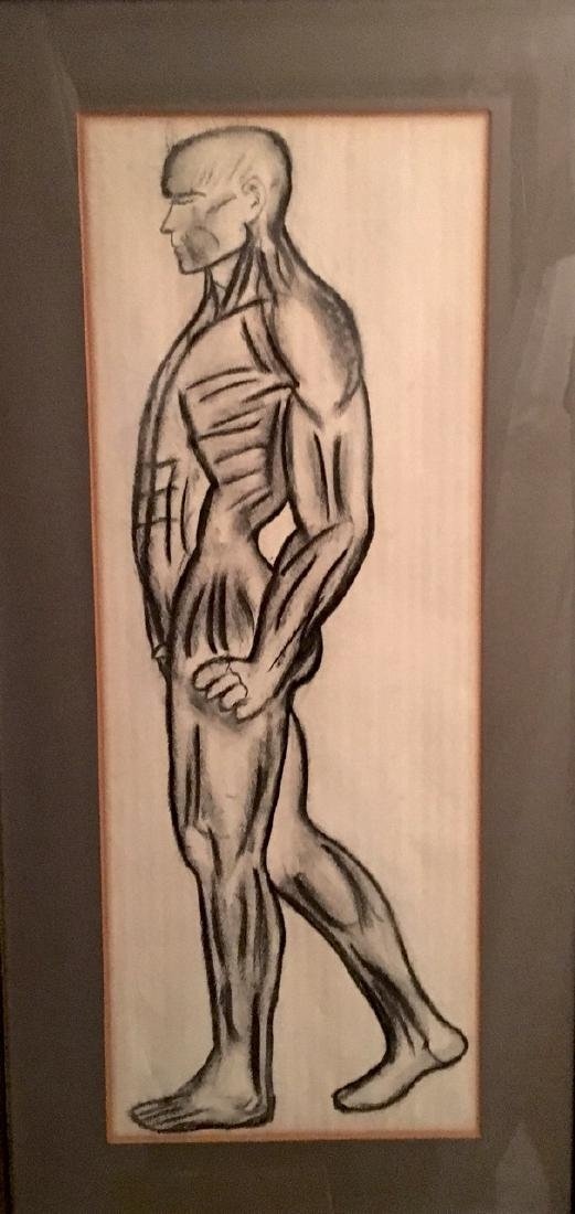 Mid-Century Charcoal Drawing Transparent Man, Signed