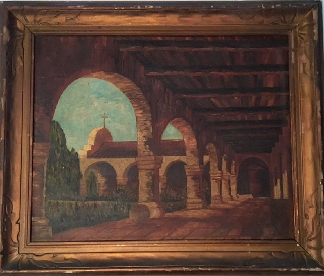 Spanish Mission Garden Courtyard Painting, Signed