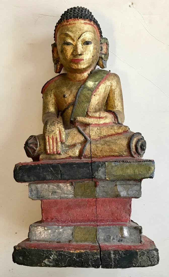 """Burmese Carved Seated Buddah With Micro Mosaic, 19""""hgt."""