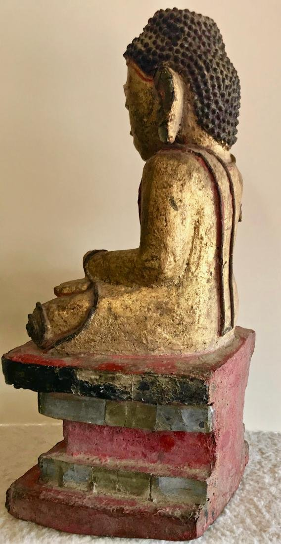 """Burmese Carved Seated Buddah With Micro Mosaic, 19""""hgt. - 2"""