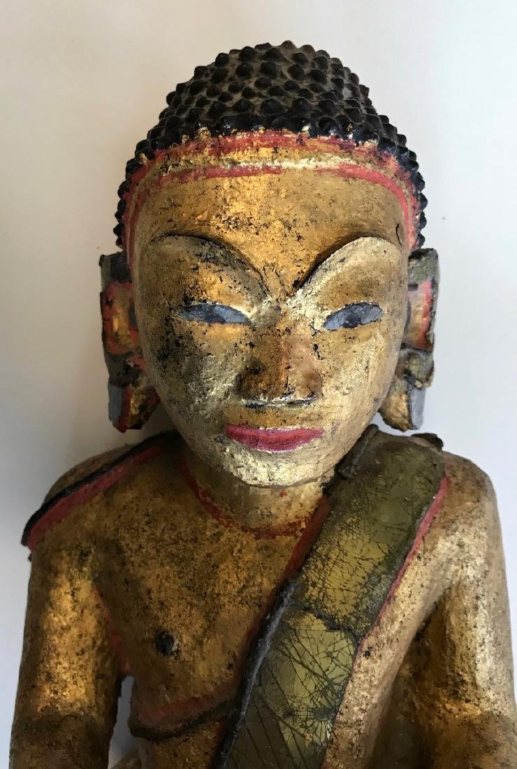 """Burmese Carved Seated Buddah With Micro Mosaic, 19""""hgt. - 4"""