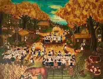 """Folk Art Oil Painting """"1st Thanksgiving"""" Colette Raker"""
