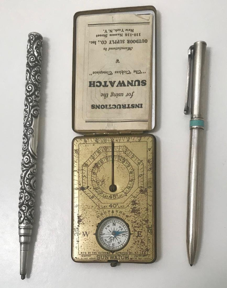 Sterling Silver Pencil, Tiffany Pen & Sunwatch Compass