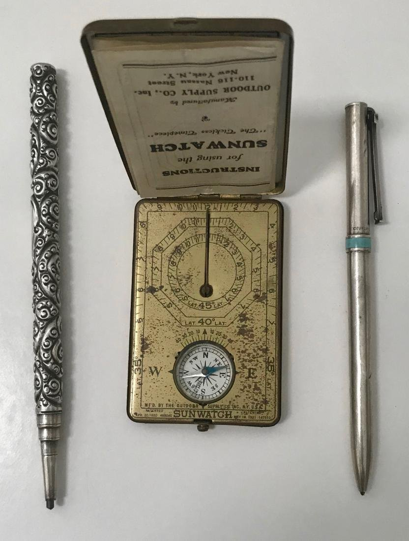Sterling Silver Pencil, Tiffany Pen & Sunwatch Compass - 3