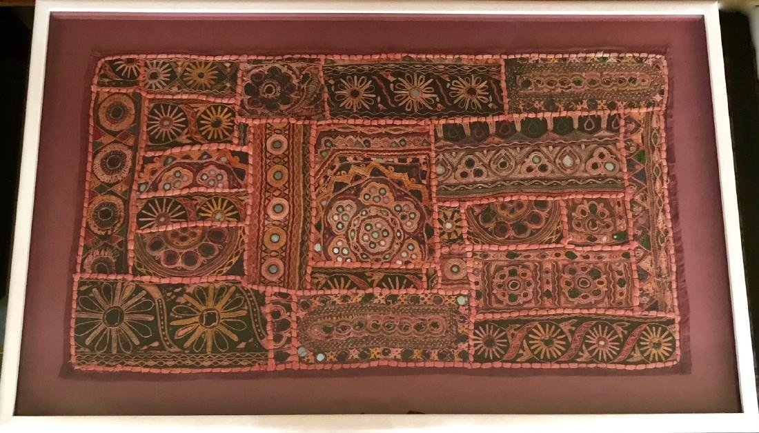 Framed Handwoven Tribal Textile Tapestry, India