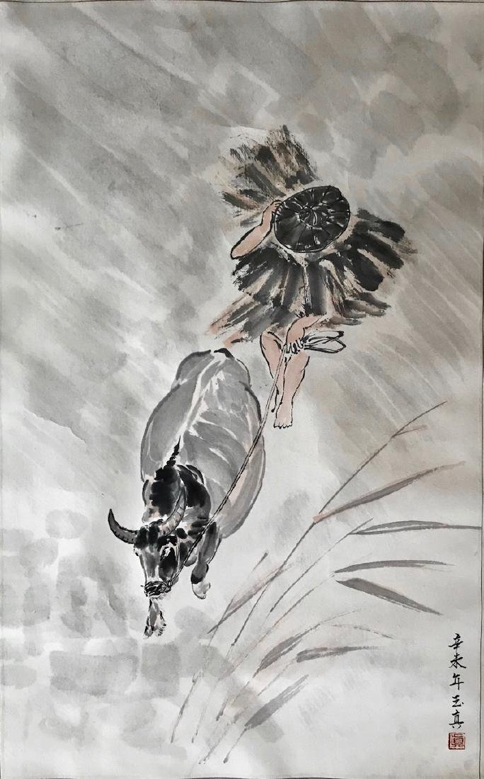 Japanese Painting Rice Farmer W/ Oxen Inscribed