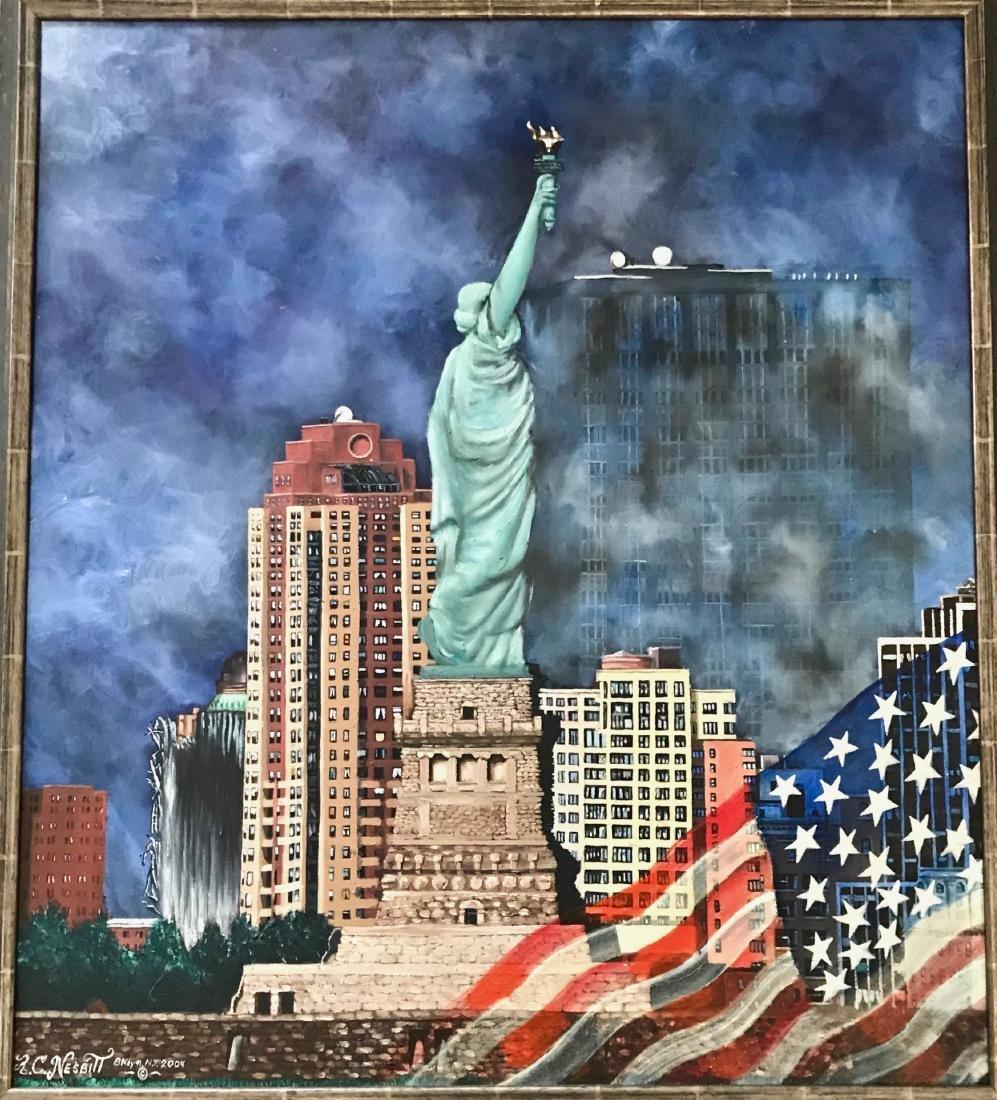 Outsider Art Oil Painting New York City Ron C. Nesbitt