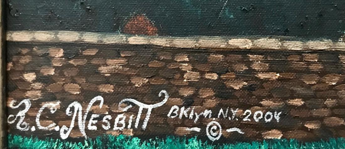Outsider Art Oil Painting New York City Ron C. Nesbitt - 2