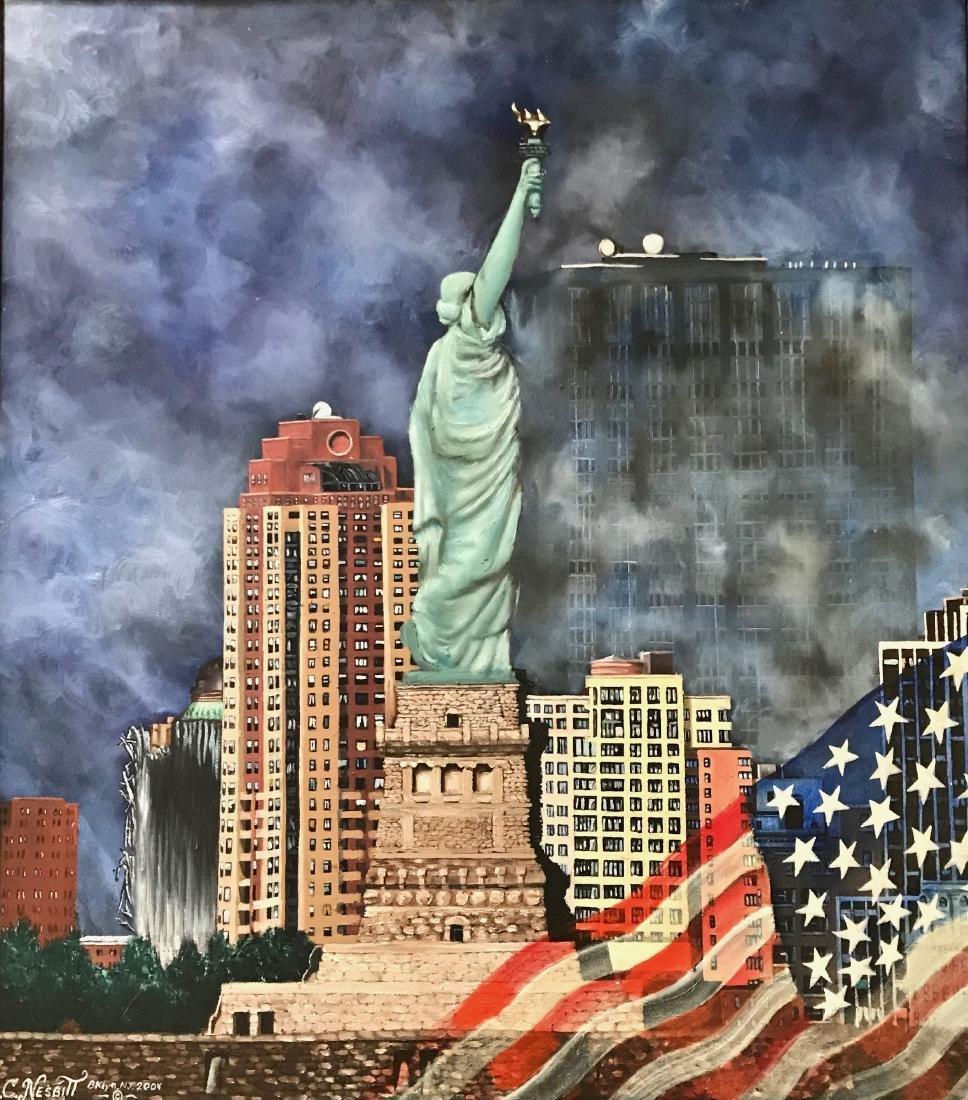 Outsider Art Oil Painting New York City Ron C. Nesbitt - 3